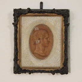 Black Frame Cameo Print With Glass Front