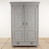 "Tall 6'6"" Grey Painted 2 Door Wardrobe With Carved Decorative Doors & Drawer Base. (Y)"