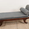 Regency Mahogany Daybed In Blue Silk With Bolster And Castor Feet