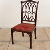 Mahogany Gothic Style Chippendale Chair With Red Chinese Silk Fabric Seat (Y)