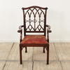 Mahogany  Gothic Style Chippendale Elbow Chair With Red Chinese Silk Fabric Seat (Y)