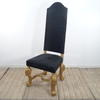 French Style Gilt Leg High Back Occasional Chair In Black Damask (Y)