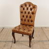Tan Leather Button Back And Seat Queen Anne Occasional Dining Chair