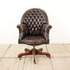 Brown Leather Buttoned Dome Back Swivel Desk Chair