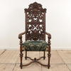 "Carved Walnut Tall Pierced Back And Open Arm Chair On X Frame Base, Green And Cream Brocade (H4'7""X W2'x D1'11"") (Y)"