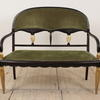 Black & Gilt Painted French Salon Sofa With Green Cord Uphol Seat And Back