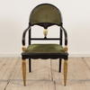 Black & Gilt Painted Dome Back Open Armchair With Damask Seat And Back (Y)