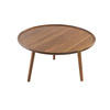 Circ Walnut Tri Leg Coffee Table With Lipped Top