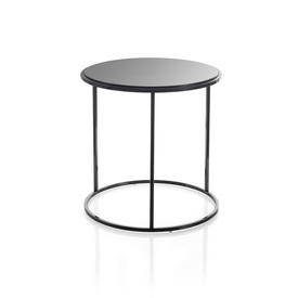 Tall Circ Black Frame ''Ile'' Lamp Table with Black Glass Top