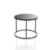 Med Circ Black Frame 'ile' Lamp Table With Black Glass Top (36 Cm H X 46 Cm) (Also Available In 2 Other Sizes)