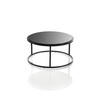 Low Circ Black Frame 'ile' Lamp Table With Black Glass Top (23 Cm H X46 Cm) (Also Available In 2 Other Sizes)
