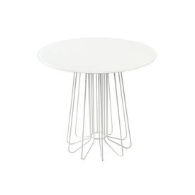 White ''Small Wire'' Lamp Table with Circ White Glass Top