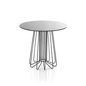 """Black """"Smallwire"""" Lamp Table with Circ Black Glass Top"""