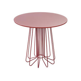 """Red """"Smallwire"""" Lamp Table with Circ Red Glass Top"""