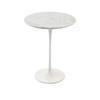 White Marble Circ Lamp Table On White Tulip Base (52 Cm H X 42 Cm)