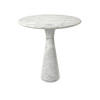 Small Circ White Carrara Marble Cone Base Lamp Table (46 Cm H X 45 Cm)