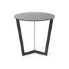 Medium Graphite Tapered Leg Circ. Glass Top Lamp Table (51 Cm H X 50 Cm) (Also Available In 2 Other Sizes)