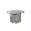 Small Bronze Interwoven Glass Base Sq.Lamp Table (40 Cm H X 60 Cm X 60 Cm)