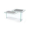 Clear Glass & Grey Two Tier Side Table (44 Cm H X 90 Cm X 43 Cm)