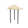 Cream Marble Shaped Lamp Table On Black Legs (42 Cm H X 38 Cm X 28 Cm)