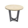 Black Steele Circ Lamp Table With Circ.Wooden Top (41 Cm H X 50 Cm)