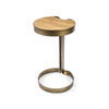 Aged Gold Lamp Table With Wooden Top (61 Cm H X 35 Cm)