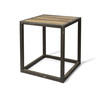 Metal Square Side Table  With Plank Top (50cm X 56cm H)