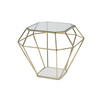 Brass Diamond Lamp Table With Glass Top