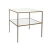 Large Square Gold 2 Tier Lamp Table With Mirrored Top (60 Cm X 66 Cm H)