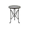 Dark Metal Cross Based Circular Lamp Table With Feet