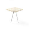 Square Marble Top Side Table On Four Chrome Legs