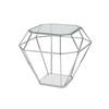Chrome Diamond Lamp Table With Glass Top