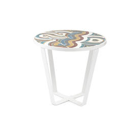 White Metal Framed Lamp Table with Coloured Tiled Top