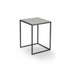 Medium Black Metal Square Lamp Table With Aged Silver Top