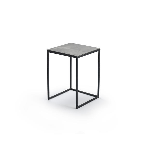 Modern props small black metal square lamp table with aged silver top aloadofball Images
