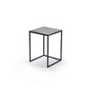 Small Black Metal Square Lamp Table With Aged Silver Top