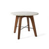 Circ.Marble Topped Side Table On Wood Legs