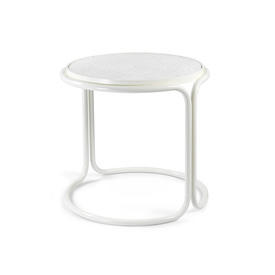 White Tubular & White Ceramic Tile Top Side Table
