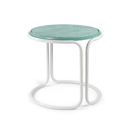 White Tubular & Green Ceramic Tile Top Side Table