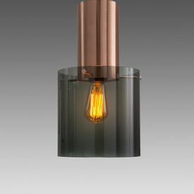 Medium Copper ''Walter'' Hanging Lamp with Smoked Glass Shade