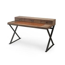 American Walnut Desk with Tan Leather Blotter