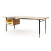 Teak Desk With Yellow, Orange & White Drop Down Drawers