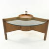 Circ. Glass/Teak Tri Leg Coffee Table With Centre Section  (50s)
