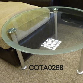 B Vox Circular Clear Glass Frosted Edge Coffee Table