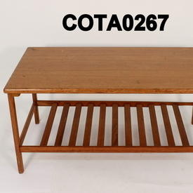 90 X 50 Teak Coffee Table with Bar Mag Shelf
