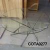3' Circ Clear Glass Top Steel Multi Splayed Leg Coffee Table