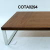 "4'7"" Low Rect Walnut & Flat Gauge Chrome Leg Coffee Table"