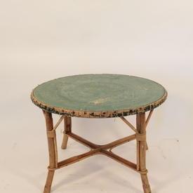 Circ Bamboo/Cane Top Green Coil  Coffee Table