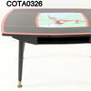 50's Red & Black 'church Landscape' Small Rectangular Coffee Table