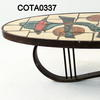 Oval Beige Retro Pattern Tile Top Table Metal Canti Base